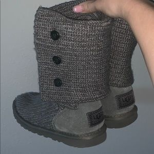 """Women's grey knitted uggs """"classic cardy boot"""""""
